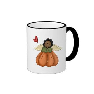 african american pumpkin angel coffee mug