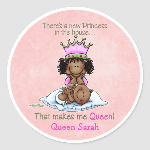 African American Queen - Big Sister Classic Round Sticker
