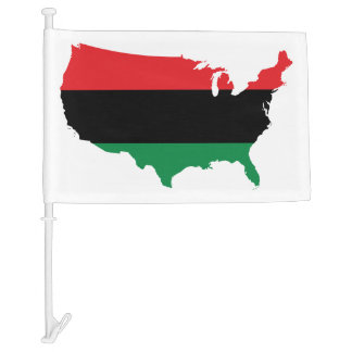 African American _ Red, Black & Green Colors Car Flag
