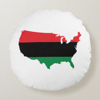 African American _ Red, Black & Green Colors Round Pillow