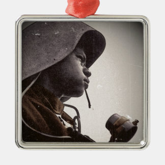 African American Rosie Riveter Metal Ornament