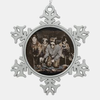 African American Rosie Riveters WWII Snowflake Pewter Christmas Ornament