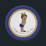 "African American Royal Blue Prince Baby Shower Paper Plate<br><div class=""desc"">Royal blue and gold ethnic prince baby shower paper plates with adorable African American Ethnic little prince wearing a royal blue diaper and gold crown on a beautiful blue and gold background. You can add the text of your choice to personalize these prince baby shower paper plates, and you can...</div>"