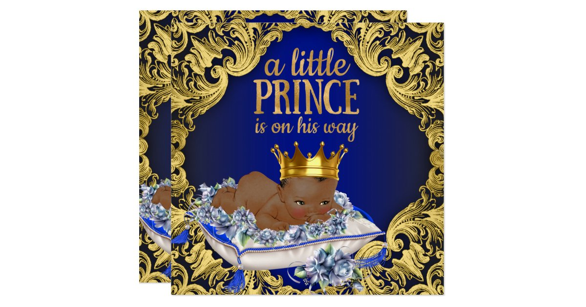 african american royal prince baby shower card zazzle