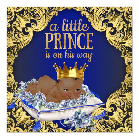 Delightful African American Royal Prince Baby Shower Card