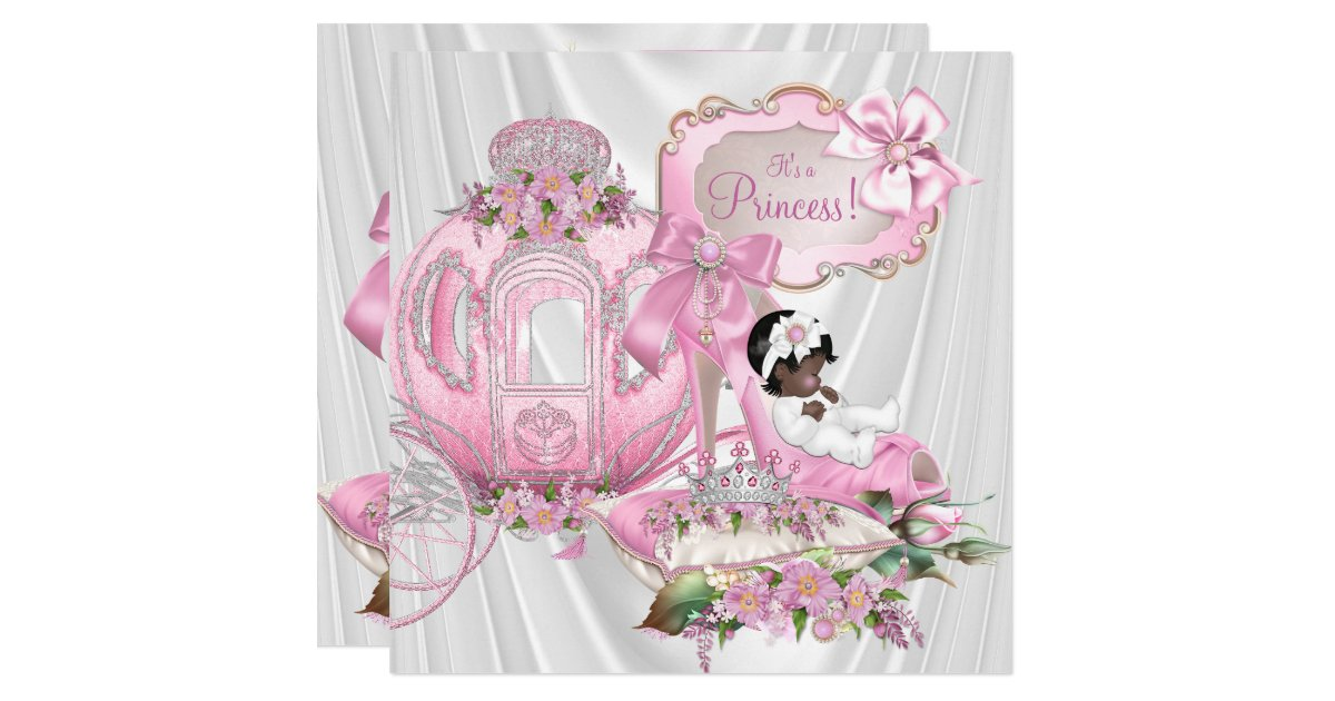 african american royal princess baby shower card zazzle