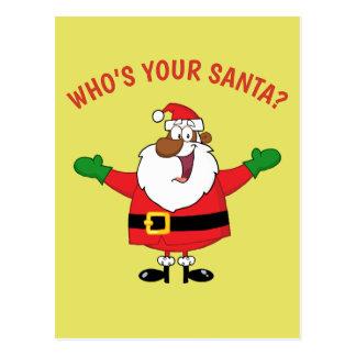 African American Santa Hugs Postcard
