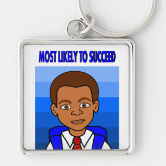 African American Schoolboy Educate Our Kids Silver-Colored Square Keychain