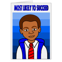 African American Schoolboy Most Likely to Succeed Card