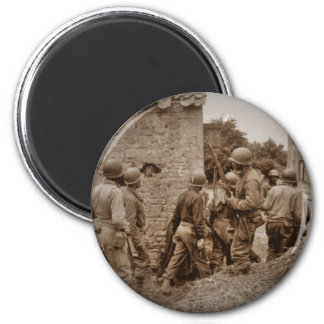 African American Servicemen Clearing Buildings 2 Inch Round Magnet