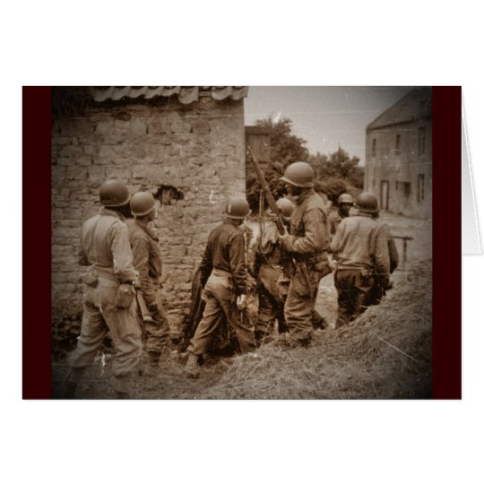 African American Servicemen Clearing Buildings Card