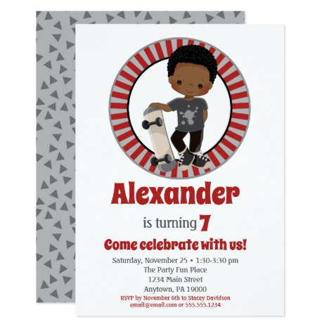 African American Skateboard Boy Birthday Invitation