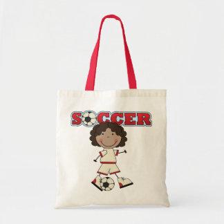 African American Soccer Girl Tote Bags