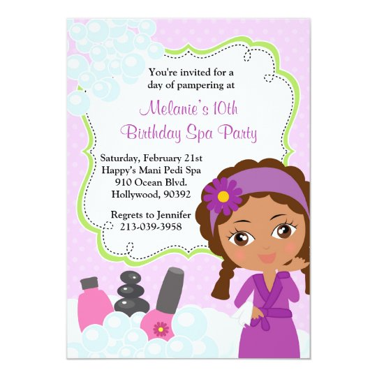 african american spa birthday party invitation  zazzle, invitation samples