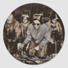 African American Steelworkers WWII Classic Round Sticker