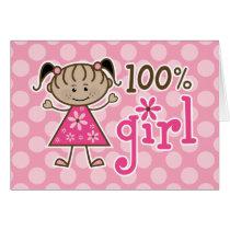 African American Stick Figure 100% Girl Pink Card