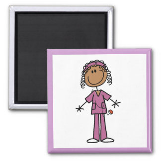 African American Stick Figure Nurse 2 Inch Square Magnet