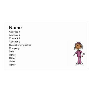 African American Stick Figure Nurse Business Card