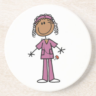 African American Stick Figure Nurse Coaster
