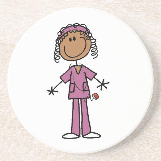 African American Stick Figure Nurse Coaster
