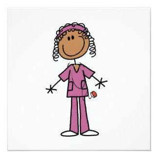 African American Stick Figure Nurse Invitation