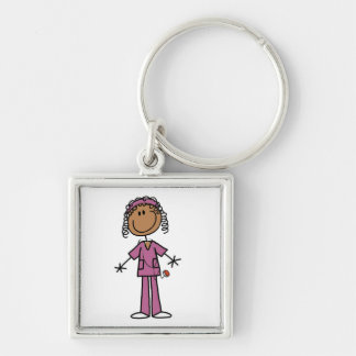 African American Stick Figure Nurse Key Chain
