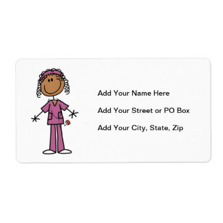 African American Stick Figure Nurse Shipping Label