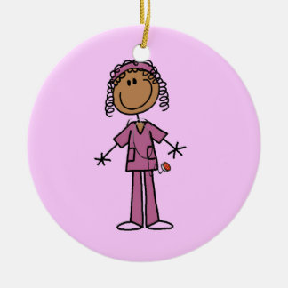 African American Stick Figure Nurse Double-Sided Ceramic Round Christmas Ornament