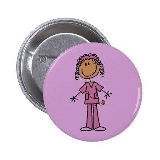 African American Stick Figure Nurse Pinback Button