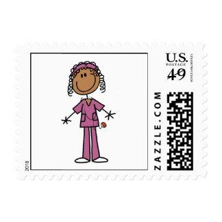African American Stick Figure Nurse Postage
