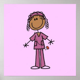African American Stick Figure Nurse Poster