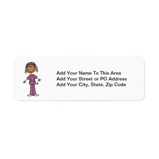 African American Stick Figure Nurse Return Address Label