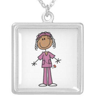 African American Stick Figure Nurse Square Pendant Necklace