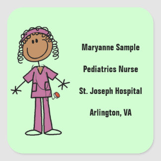 African American Stick Figure Nurse Square Sticker