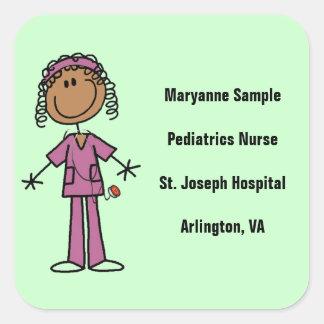 African American Stick Figure Nurse Square Sticker