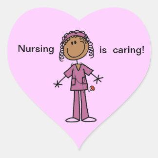 African American Stick Figure Nurse Heart Sticker