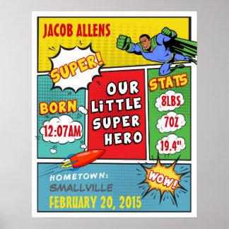 African-American Superhero Birth Announcement Poster