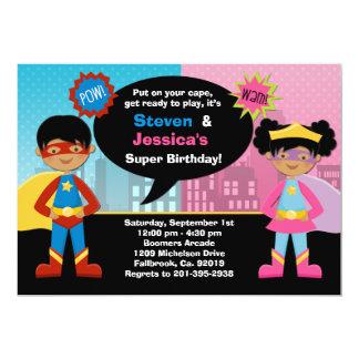 African American Superhero Birthday Party Card
