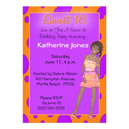 African american sweet 16 party invitations zazzle - African american party ideas ...