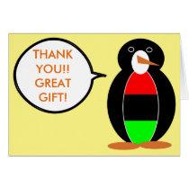 African American Talking Penguin Card