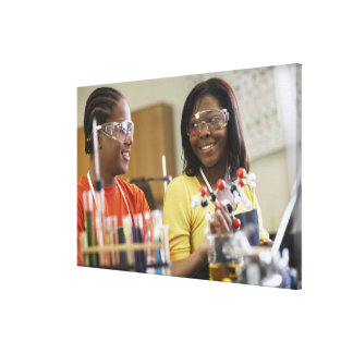 African American teenagers in science class Canvas Print