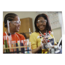 African American teenagers in science class Card