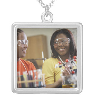 African American teenagers in science class Jewelry
