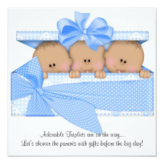 African American Triplet Baby Shower Invitation