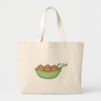 African American Triplets in Pea Pod Canvas Bag