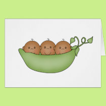 African American Triplets in Pea Pod Card