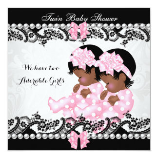 "African American Twin Baby Shower Cute Girls Pink 5.25"" Square Invitation Card"