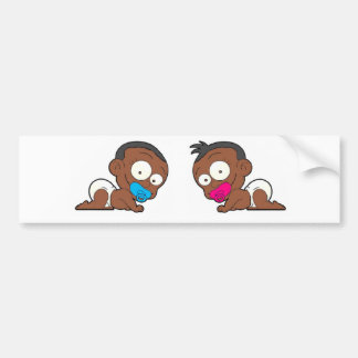 African American Twin Boy & Girl Collection Bumper Sticker