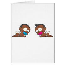African American Twin Boy & Girl Collection Card
