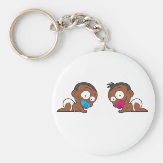 African American Twin Boy & Girl Collection Keychain